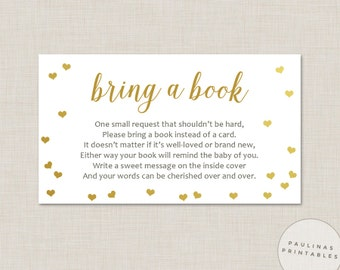 Bring A Book Instead Of A Card   Baby Shower Game, Printable Bring A Book