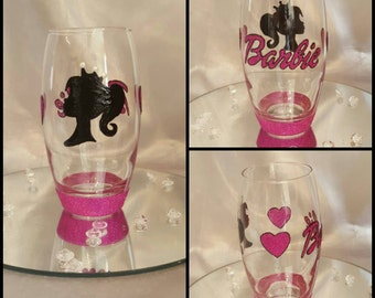 Handpainted Barbie tumbler glass