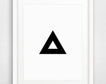 Geometric Print, Printable Art, Triangle Print, Geometric Decor, Geometric Prints, Black and White, Pyramid Art, Black and White Art