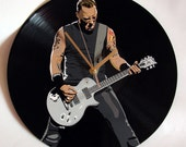 James Hetfield Metallica painted retro vinyl clock. Ideal gift for melomaniac