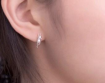 Minimalist Cat Stud Earring, Silver Cat Studs, Silver Cat Earrings, Silver Kitten Studs, Silver Kitten Earrings, Silver Kitten Stud Earrings