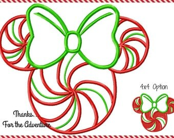Christmas Peppermint Swirl Minnie Mouse Mouse Digital Embroidery Machine Applique Design File 4x4 5x7 6x10