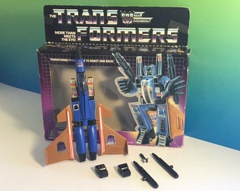 TRANSFORMERS DIRGE DECEPTICON Airplane plane blue gold 1984 Hasbro vintage 100% original complete weapons accessories robot toy