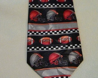 Vintage Tie - Steven Harris Hand Made Tie - Football Themed - Perfect for the Sports Lover - Features Grey and Red Colours