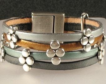 Dotted Multi Color Leather Cuff