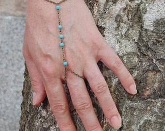 Hand chain - Turquoise Bracelet Ring - Slave Bracelet with Tiny Turquoise Stones , Beautiful unique jewelry