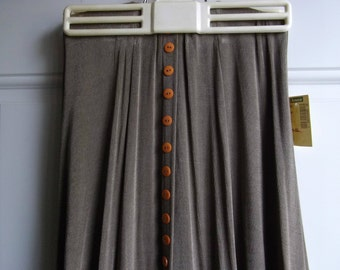 80's Slinky Taupe Button-down Maxi Skirt, Size Medium