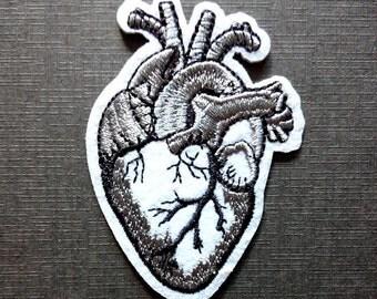 Heart Anatomy Steampunk Black White Iron On Patch