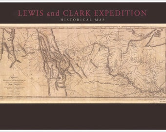 1804-06 Lewis & Clark United States Expedition Map Poster Historic Topographical 24x36