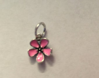 S925 Pink Enamel Cherry Blossom Dangle Charm Bead..FREE Shipping in USA