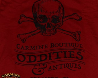 Limited 1st Addition Carmine Oddities Boutique t-shirt (Carmine Red and Black Print)