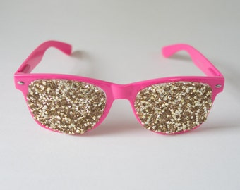Glam Gold Sparkle Glasses / Photo Booth Prop / Glam / Gold Glitter / Handmade /Photobooth