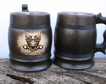 Game of Thrones Gift/House of Targaryen Mug /Fire and Blood/House Targaryen Gift/House Stark/Game of Thrones mug/Wooden Beer Mugs/Medieval