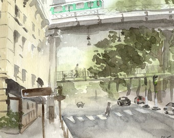 "Original watercolor,city scene painting,paris,bridge Bir-Hakeim,11""x11"",home decor"