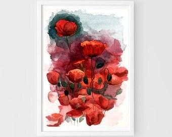 Flower watercolor,original painting,10''x14''