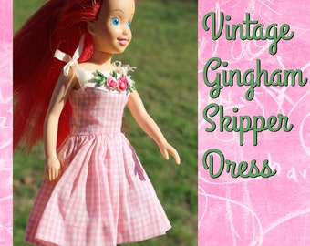 Vintage 1963 Gingham Skipper Dress   ~DOLL NOT INCUDED~