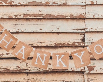 Thank You Banner - Thank You Sign - Wedding Prop - Wedding Sign - Wedding Banner - Garland - Hessian