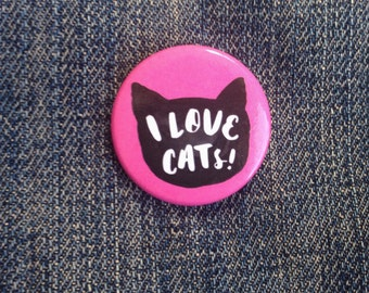 """I Love Cats Button 1.25"""""""