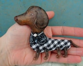 Brooch dog,Brooch dachshund,German badger-dog, Gingham,pin dog,animals,handmade,mixed media,embroidery,hand molding,gift dog,dog art,jewelry