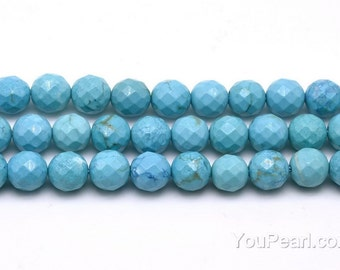 Turquoise beads, 8mm round faceted, natural gem stone, loose gemstone beads, full strand, turquoise beads supplies, TQS1040