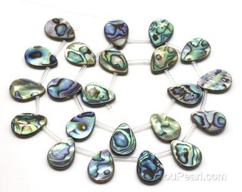 13x18mm abalone shell beads, teardrop shape paua shell, top drilled rainbow abalone beaded strand, natural loose shell beads, ABA1350