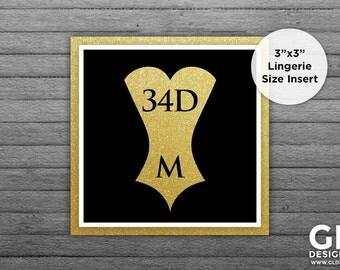 Lingerie Size Insert. Bridal Shower Lingerie Invitation Insert. Bride Bra & Panty Size. Gold Black White Printable Corset Invitation Insert