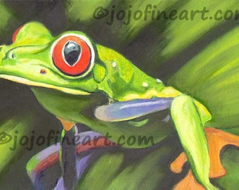 Red eyed Tree Frog original art painting jojofineart.com