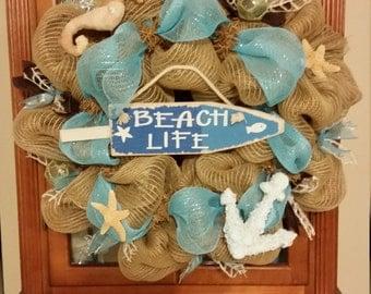 Burlap Beach Theme Wreath
