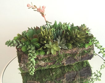 Succulent Arrangement Artificial Silk Succulent Centerpiece in Bark and Moss Wrapped Planter Home and Party Décor