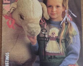 Vintage Knitting Pattern Patons Childrens Little Bo Peep Motif Sweater Girls Jumper Nursery Rhyme 22 24 26 28 30 Inch Chest No. 8402