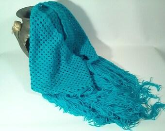 Crochet wool shawl