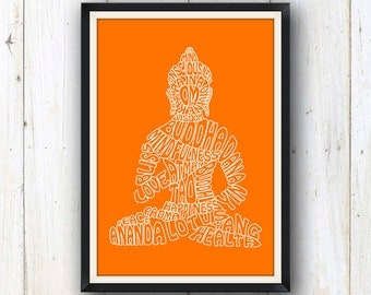 Buddha typography art print in orange/ Yoga and meditation studio decor