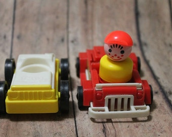 Little People car and fire engine-Fisher price Little People-Little people cars-Vintage fisher price-Little people