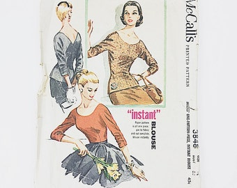 50s Blouse Pattern | McCall 3848 Misses Blouse One Piece Pattern | 50s Sewing Pattern