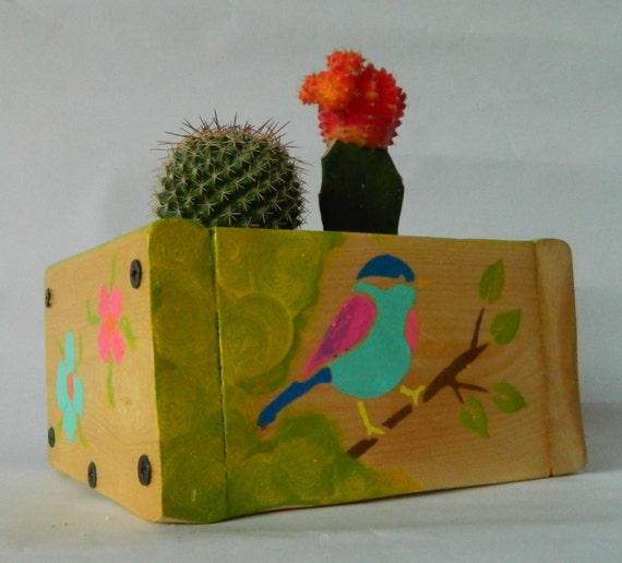 Succulent cactus planter wood planter box handmade by for Wooden cactus planter