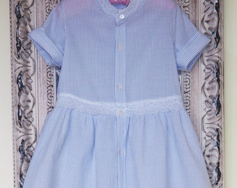 MiniAlexandra Little Girs Dress upcycled from preloved dad's shirt