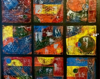 Sculptured 9-Panel Abstact Painting