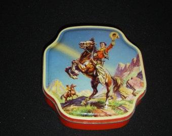Jolie boite tole cow-boy Horner. Old tin box western style John Wayne. Cheval. Horse