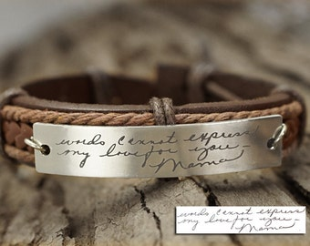 Memorial Signature Bracelet, Actual Handwriting Bracelet, Personalized Engraved Bracelet-Genuine Leather Keepsake Bracelet, Mothers Day Gift