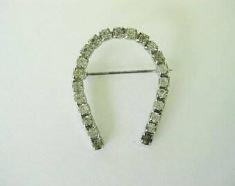 "Vintage Brooch, Vintage Pin, Vintage Jewelry, Vintage Horseshoe Pin, Clear Rhinestones, Silver Tone Setting, 1 1/4"", Wedding, Bridal, Bride"