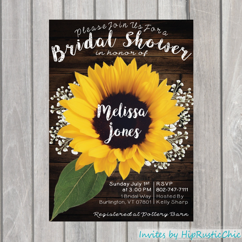 sunflower bridal shower baby shower invite birthday