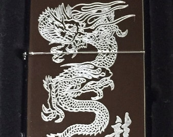Custom Made Zippo Lighter Engraved Chinese Oriental Dragon Character Limited