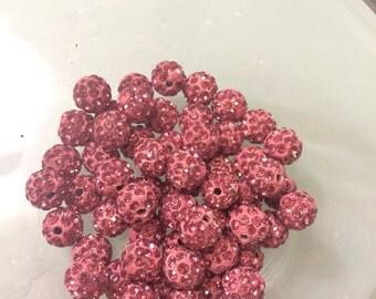 50 pink shamballa beads, 10mm