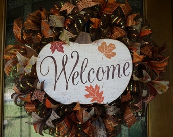 Pumpkin Wreath, Fall Wreath, Autumn Wreath, Fall Deco Mesh, Pumpkin Wreath, Fall Door Hanger, Autumn Door Hanger, Thanksgiving Wreath