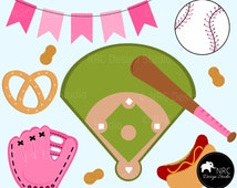 90% SALE Baseball, Softball, Girl, Banner, Field, Mitt, Glove, Bat, Pink Clip Art | Instant Download Commercial Clip Art | NRCDesignStudio