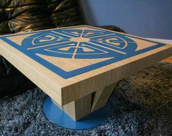 Aztec Coffee Table Design - round base, 4 legs