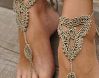 Gorgeous footless sandals crochet in a cute earthy khaki colour that will enhance your suntan.