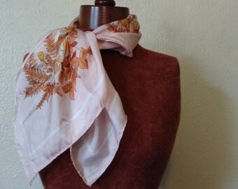 Vintage Silk Scarf, Pink Silk Floral Scarf, Golden Camel Silk Scarf, 60s Scar, 70s Scarf, Mad Men Style, Spring Scarf, Vintage Floral Scarf