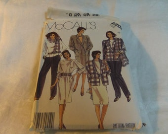 Womens Coat Dress or Jacket, Blouse, Skirt, Pants and Scarf, Size 16 Uncut Pattern, McCalls 2200 1985