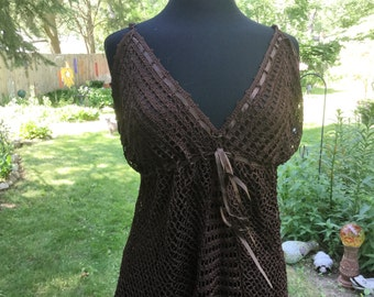 Brown Crocheted Top, Womens Medium-Large Tank, Boho Gypsy Burning Man Festival Clothing